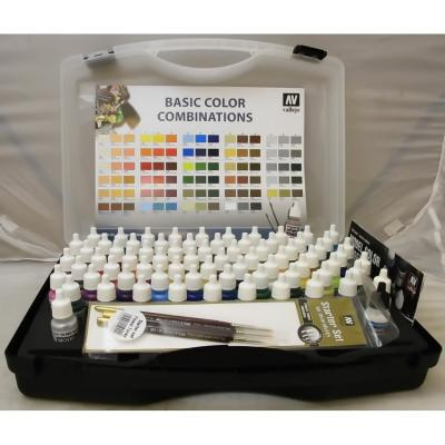 Model Color Combinations (72) in Carry Case includes 2 Mediums & 3 Brushs