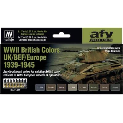 WWII British Colours UK/BEF/EUR Model Air Set (8 Colours)
