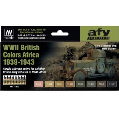 WWII British Colours Africa 1939-1943 Model Air Set (8 Paints)